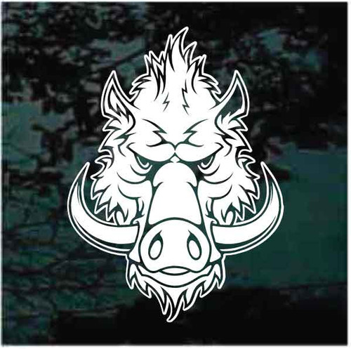 Fierce Wild Hog Head Window Decals