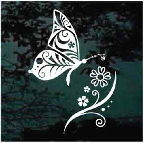 Decorative Butterfly With Flower Window Decal