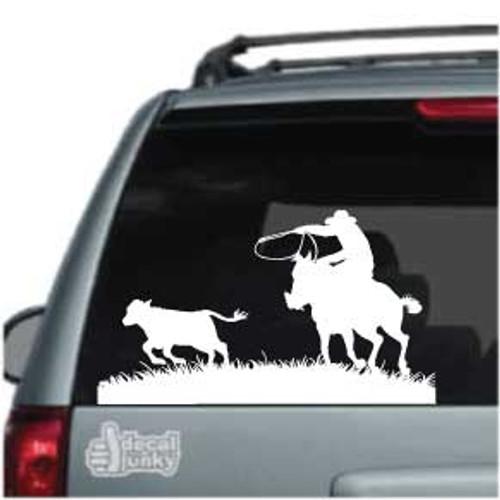 Cowboy On Horseback Roping Calf Car Decal