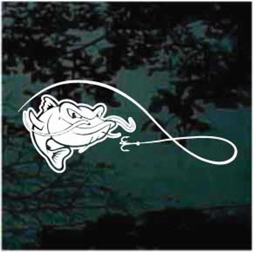 Hook & Line Catfish Cartoon Window Decals