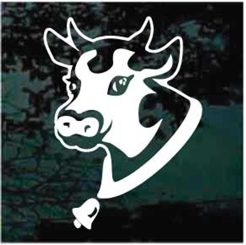 Cow Head With Cowbell Window Decals