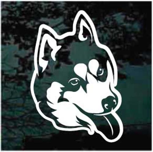 Friendly Siberian Husky Head Window Decals