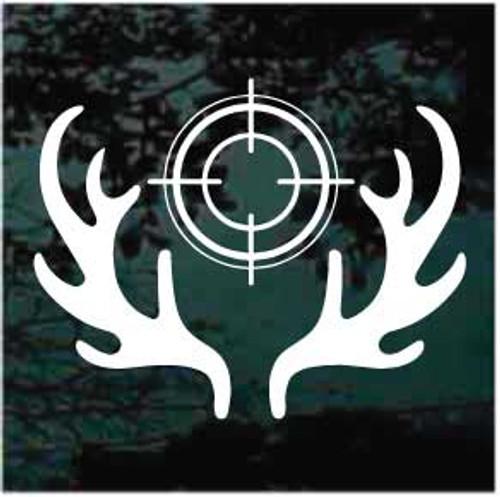 Deer Hunting Antlers With Scope Window Decals