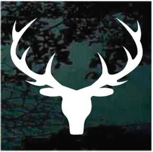 Big Buck Deer Head Antlers Silhouette Decals