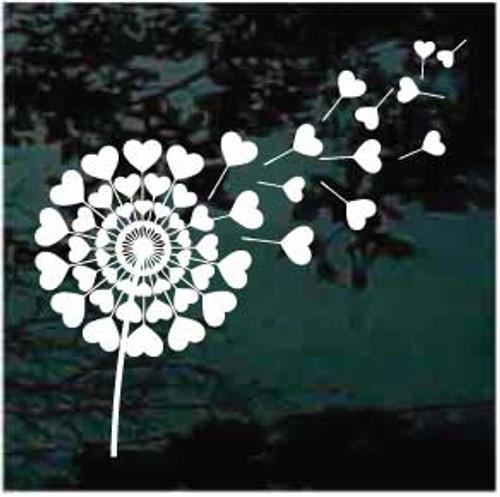 Hearts Dandelion Window Decal