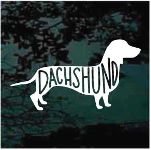 Dachshund Dog With Text Inside Window Decal