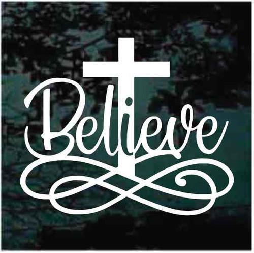 Christian Believe Cross Decals