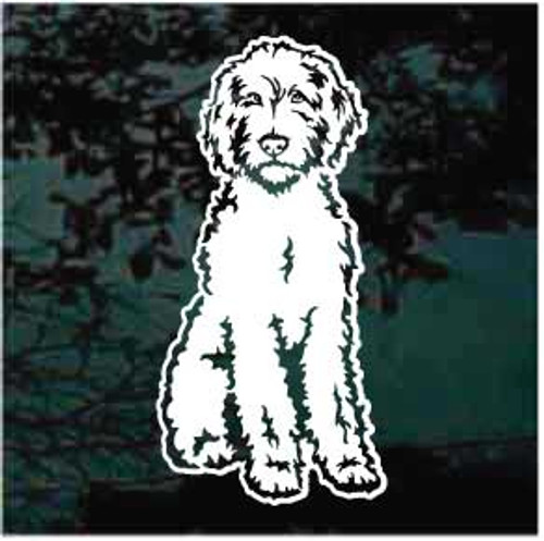 Sitting Labradoodle Window Decal