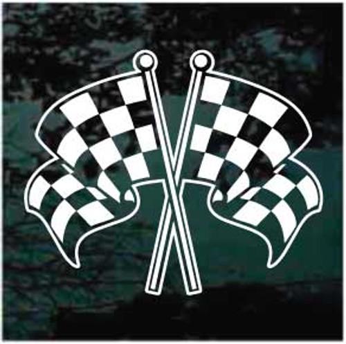 Cool Racing Flags Crossed Decals