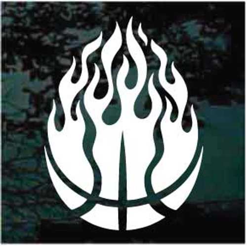 Basketball In Flames Decals