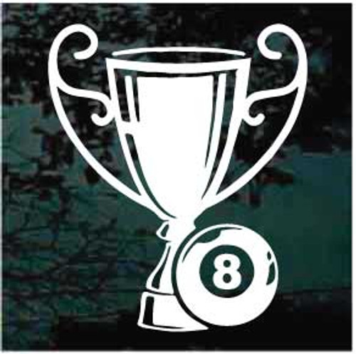 Billiards Trophy With 8 Ball Window Decal