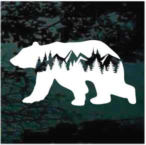 Wilderness Bear With Mountains Window decal