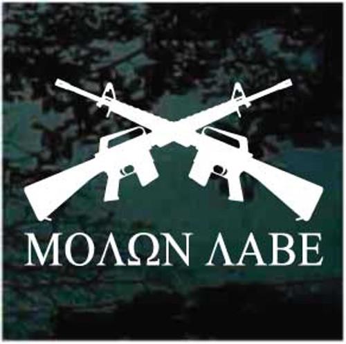 Molon Labe AR-15 Guns Crossed Window Decals