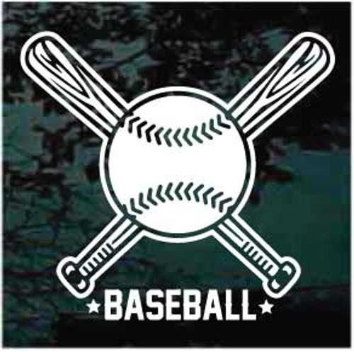 Baseball With Crossed Bats Baseball Team Window Decals