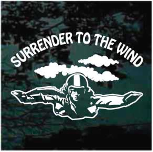 Surrender To The Wind Skydiving Window Decals