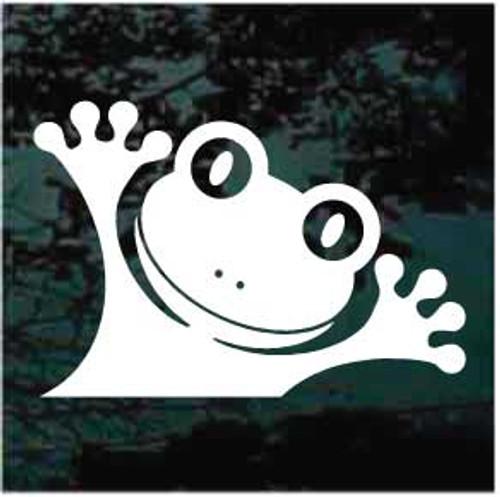 Funny Face Frog Peeking Window Decals