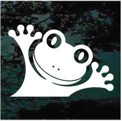 Funny Face Frog Peeking Window Decals
