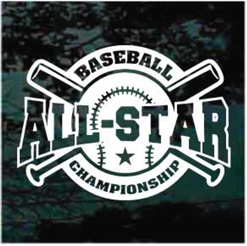 All Stars Championship Baseball Team Window Decals