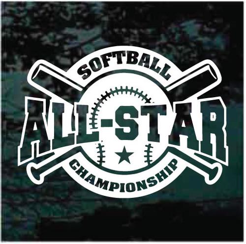 All Stars Championship Softball Team Decals