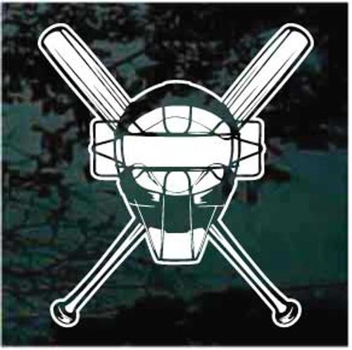 Catcher's Mask Baseball Team Window Decals