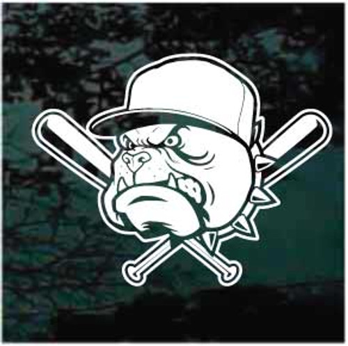 Bulldogs Mascot Baseball Team Window Decals