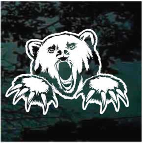 Angry Grizzly Bear Window Decals