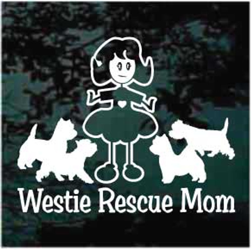 Westie Rescue Mom Window Decals
