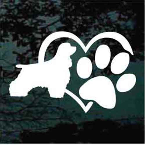 Cocker Spaniel Heart Paw Window Decal