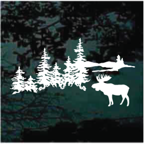Moose Scene With Trees Decals