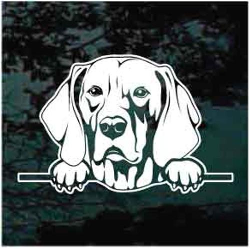 Weimaraner Peeking Doggie In The Window Decals