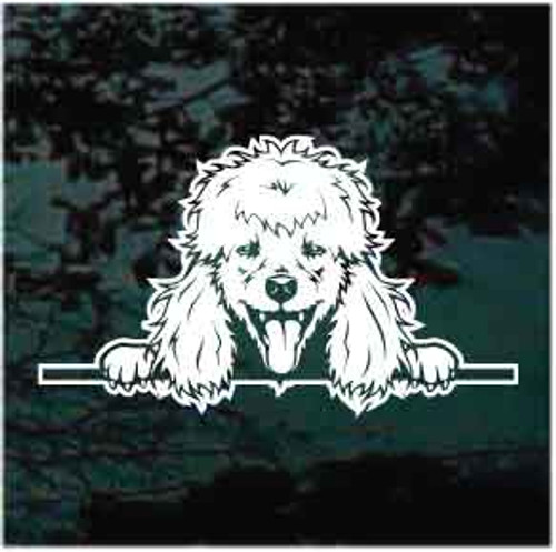Happy Poodle Doggie In The Window Decals