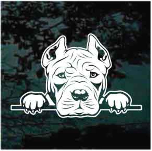 Pitbull Peeking Doggie In The Window Decals