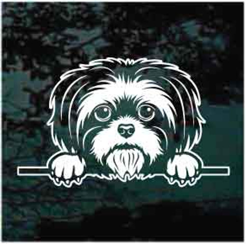 Shih Tzu Peeking Doggie In The Window Decals