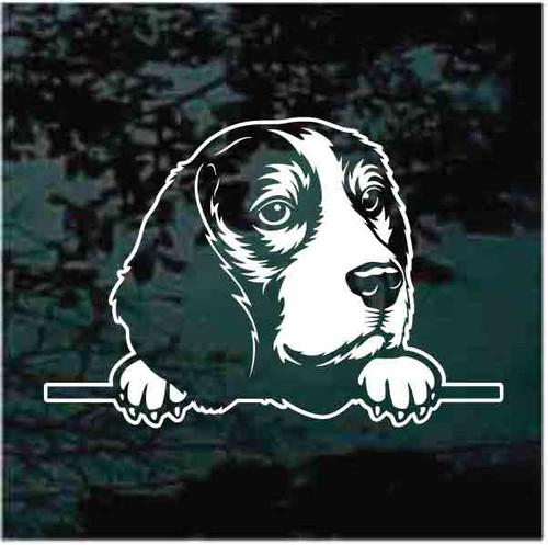 Beagle Puppy Peeking Doggie In The Window Decals