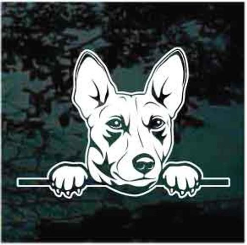 Basenji Peeking Doggie In The Window Decals