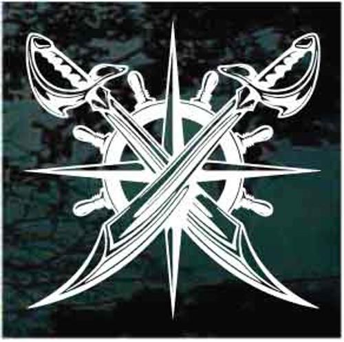 Pirates Emblem Captain's Wheel Crossed Swords Decals