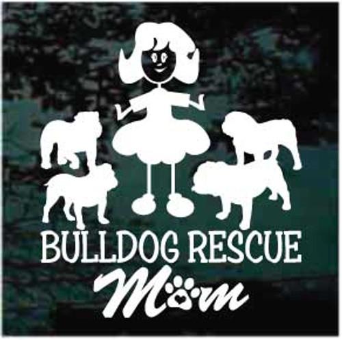 Bulldog Rescue Mom Window Decals