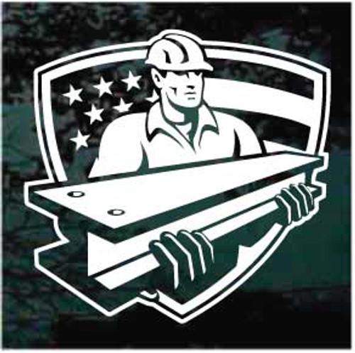 American Steel Worker Shield Decals