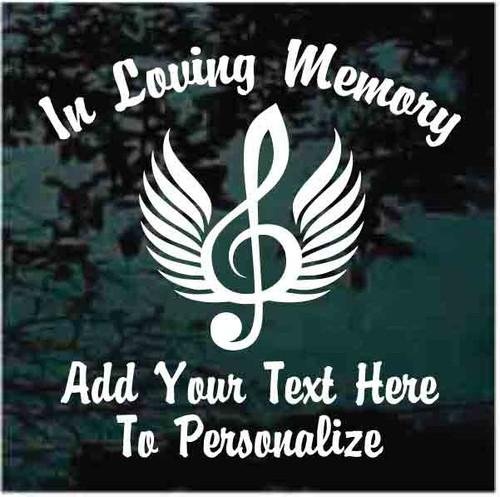 Angel Wings Treble Clef Memorial Decals