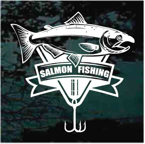 Salmon Fishing Banner With Treble Hook Decals