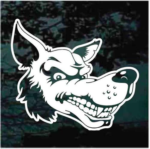 Sly Wolf Head Cartoon Window Decals