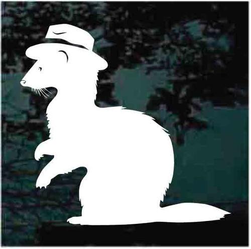 Ferret Wearing Hat Window Decals