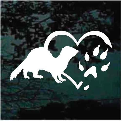 Ferret Heart Paw Window Decals