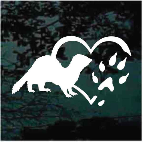 Ferret Heart Paw Window Decals