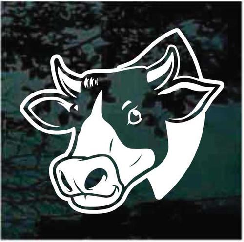 Cow Head Peeking Window Decals