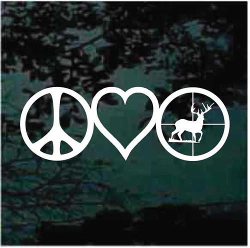 Peace Love Deer Hunting Decals