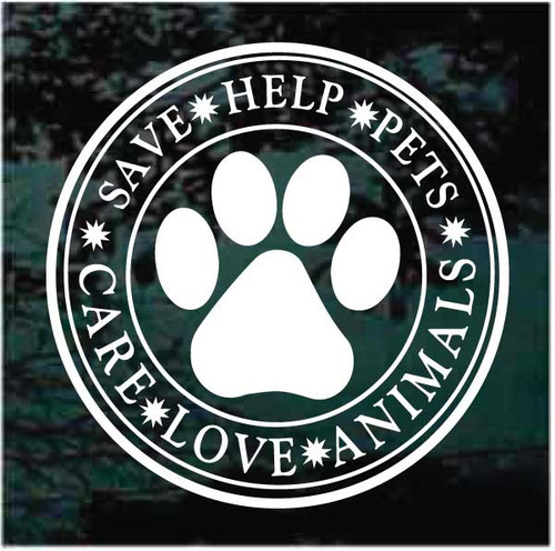 Save Help Pets Care Love Animals Decals