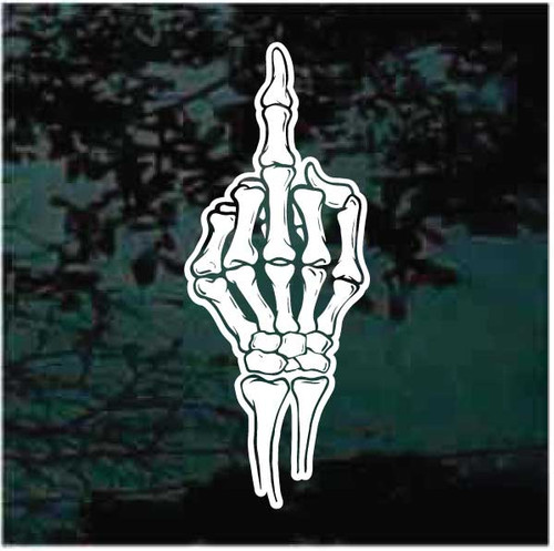 Skeleton Hand Giving The Finger Decals