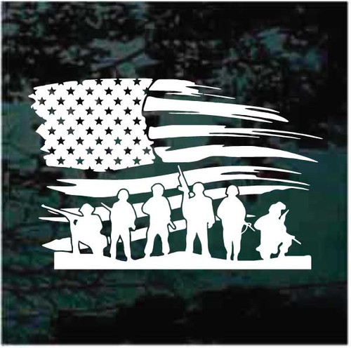 American Flag Soldiers Window Decals
