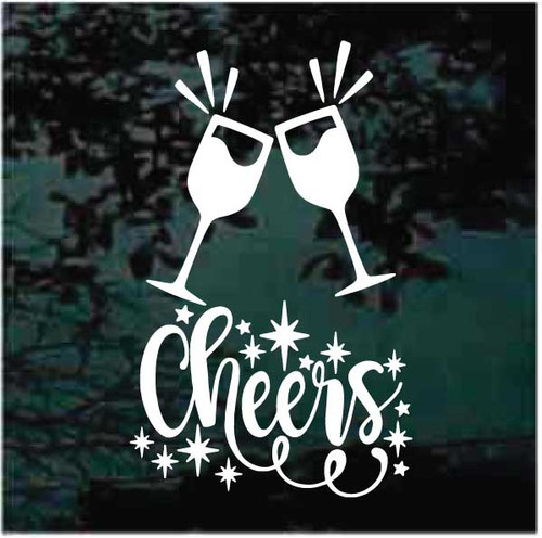 Cheers Wine Glasses Decals